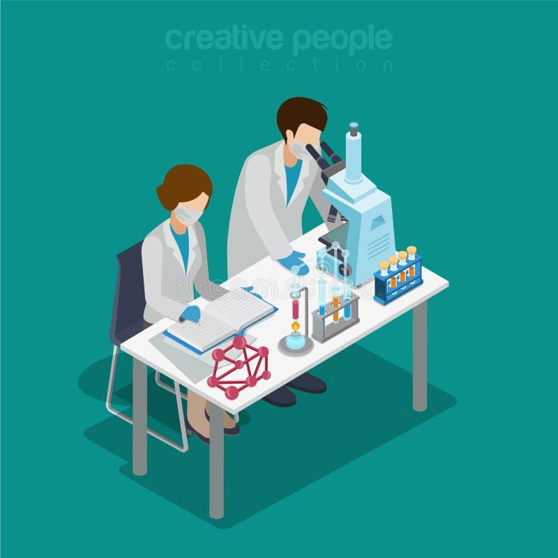 Laboratorium naukowe eksperymentu badania chemiczny płaski isometric wektor ilustracji