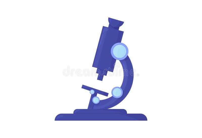 Laboratorium naukowe płaska wektorowa ilustracja: naukowego mikroskopu odosobniona ikona nad biel laborancki tło mikroskop ilustracji