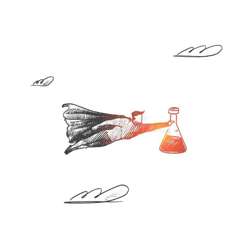 Laboratorium naukowego pojęcie Ręka rysujący odosobniony wektor royalty ilustracja