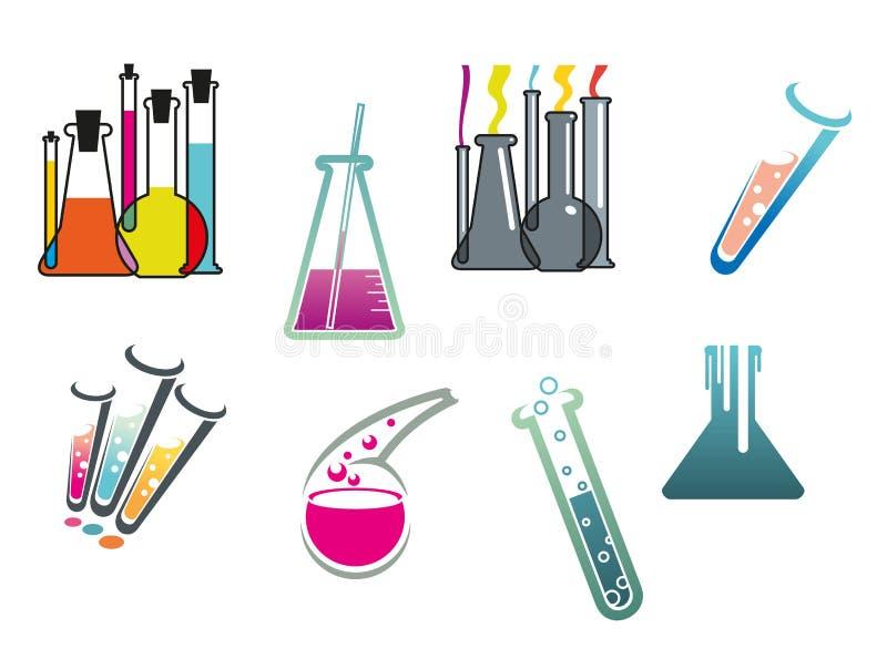 Laboratorium- och provröruppsättning vektor illustrationer