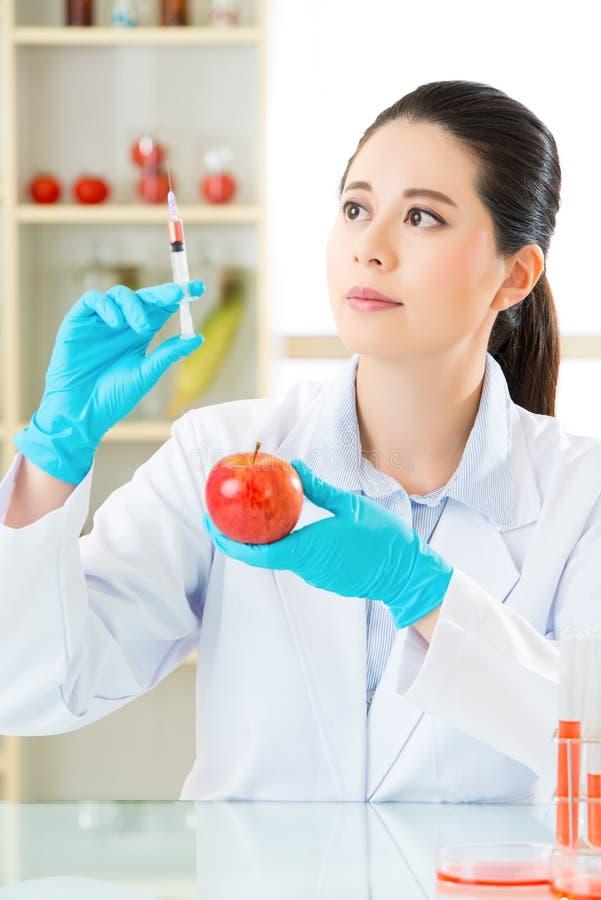 Laboratoriumanalyse van appelgmo voedsel voor test stock afbeeldingen