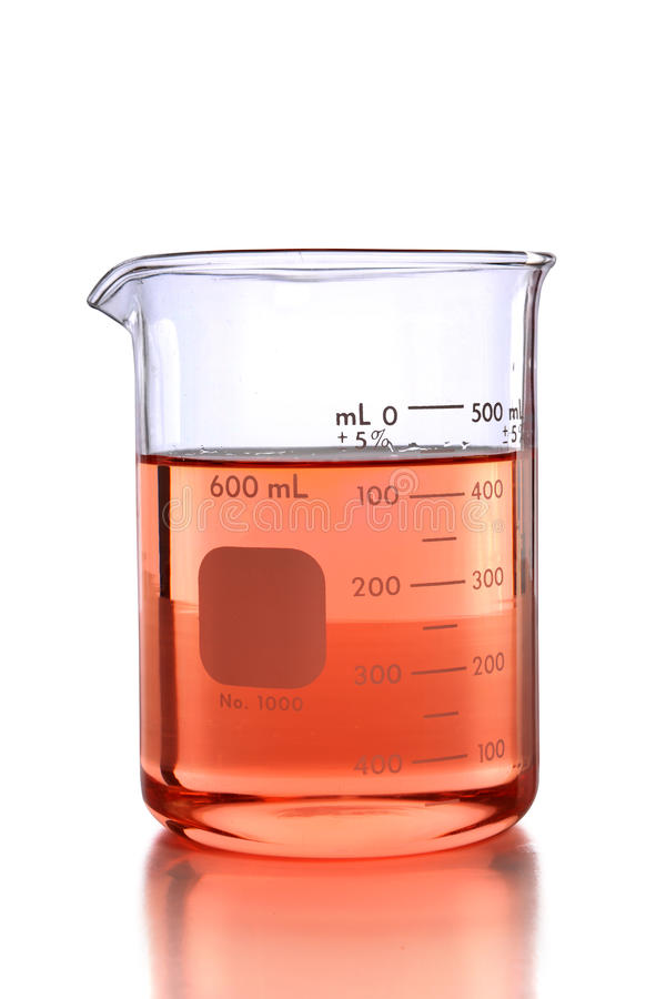 Laboratoriumbeker met Gekleurde Vloeistof stock afbeeldingen