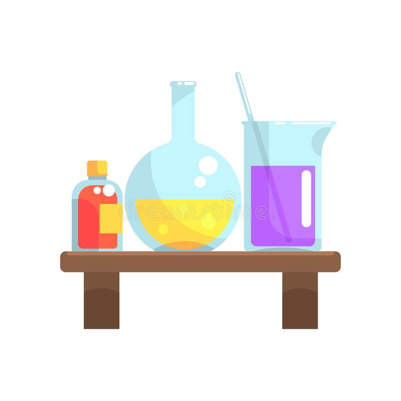 Laboratoriumchemische producten in glaswerktribune op houten plank Fles, beker en kleine fles met deksel Beeldverhaal vlakke vect stock illustratie