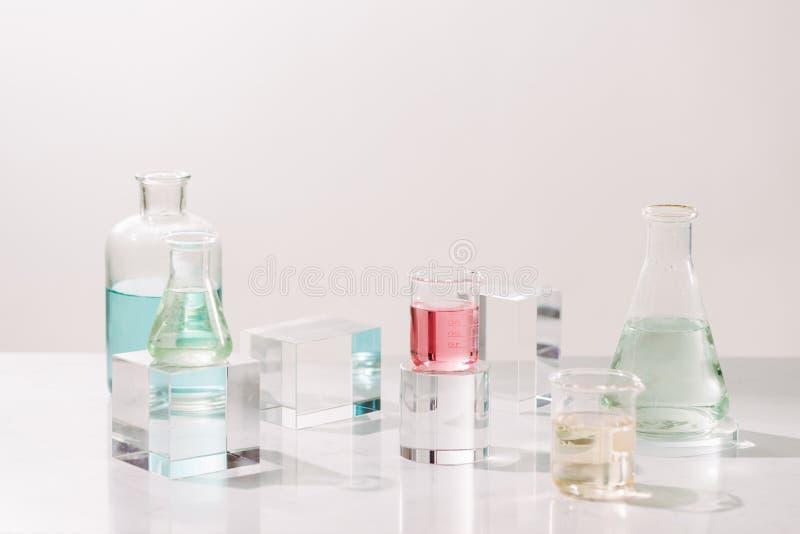 Laboratoriumexperiment en onderzoek met blad, olie en ingrediëntenuittreksel voor natuurlijke schoonheid en organisch kosmetisch  royalty-vrije stock afbeelding