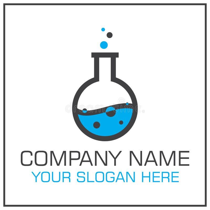 Laboratoriumflaska med vätskevektorn Logo Design för Vetenskap Företag eller laboratorium stock illustrationer