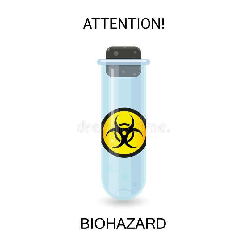 Laboratoriumfles met biologisch gevaarlijk stof vector illustratie