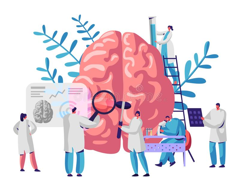 LaboratoriumforskareGroup Study Human hjärna och psykologi Medicinsk forskningmikroskop HuvudTomography Kemiskt experiment royaltyfri illustrationer