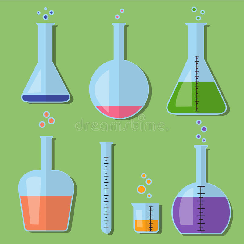 Laboratoriumglasflaskor med kemikalieer i plan stil royaltyfri illustrationer
