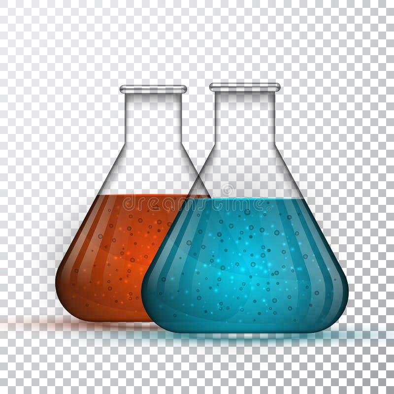 Laboratoriumglaswerk of beker Chemische laboratorium transparante fles met vloeistof Vector illustratie vector illustratie