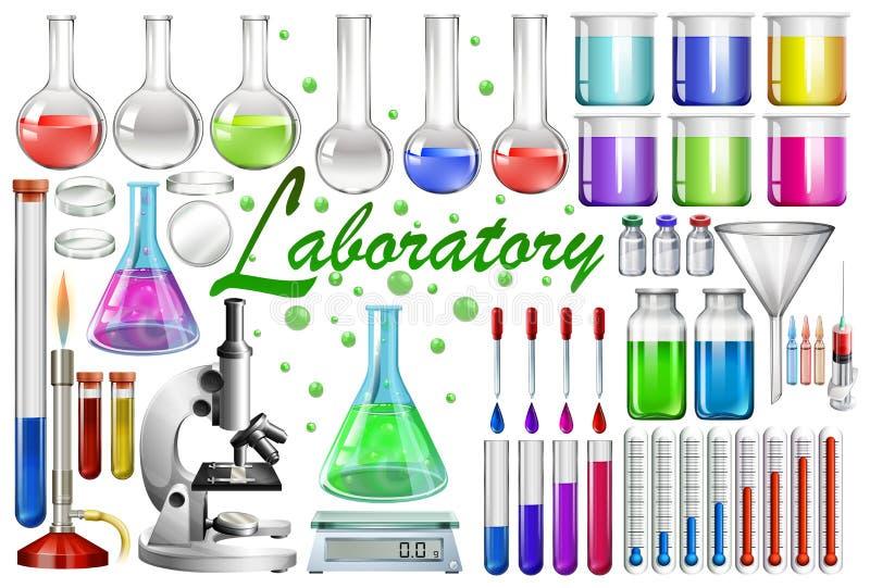 Laboratoriumhulpmiddelen en materiaal stock illustratie