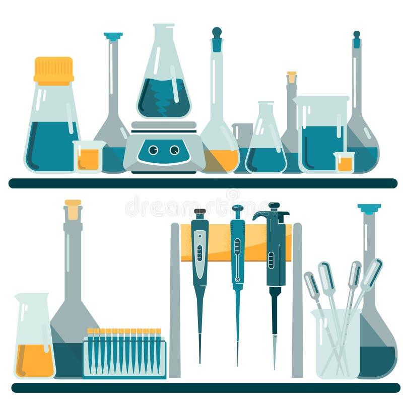 Laboratoriummateriaal en glaswerk stock illustratie
