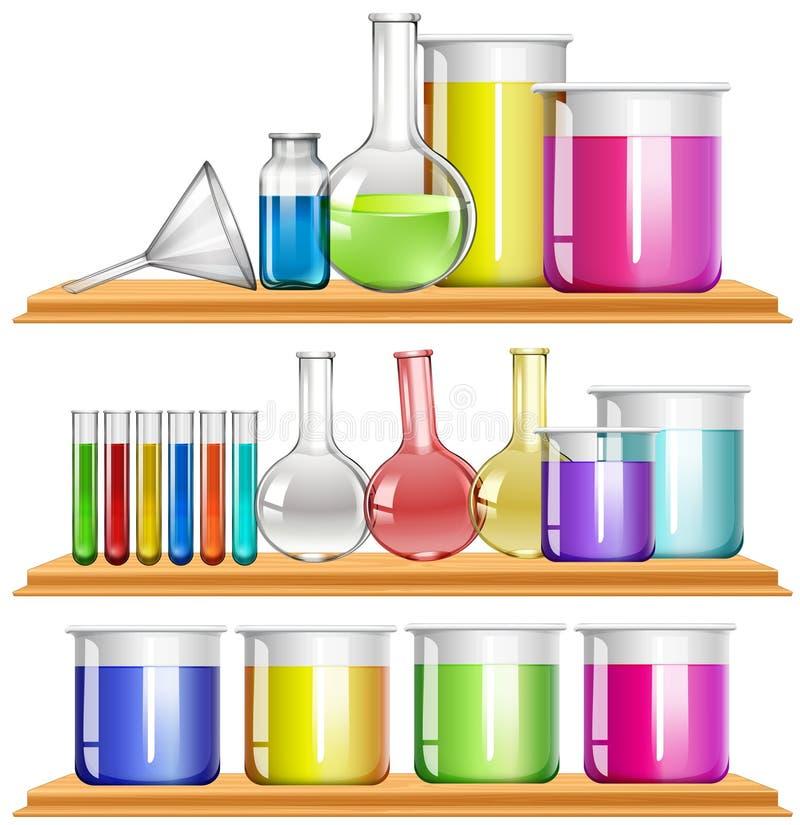 Laboratoriummateriaal met chemisch product wordt gevuld dat vector illustratie