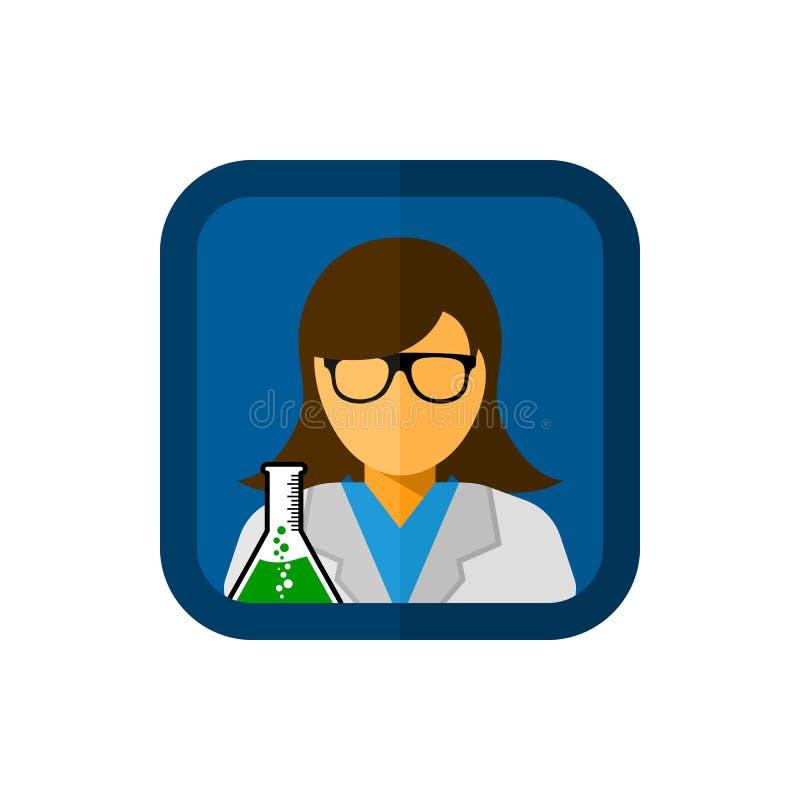 Laboratoriummedewerker met vierkante vectorpictogramillustratie royalty-vrije illustratie