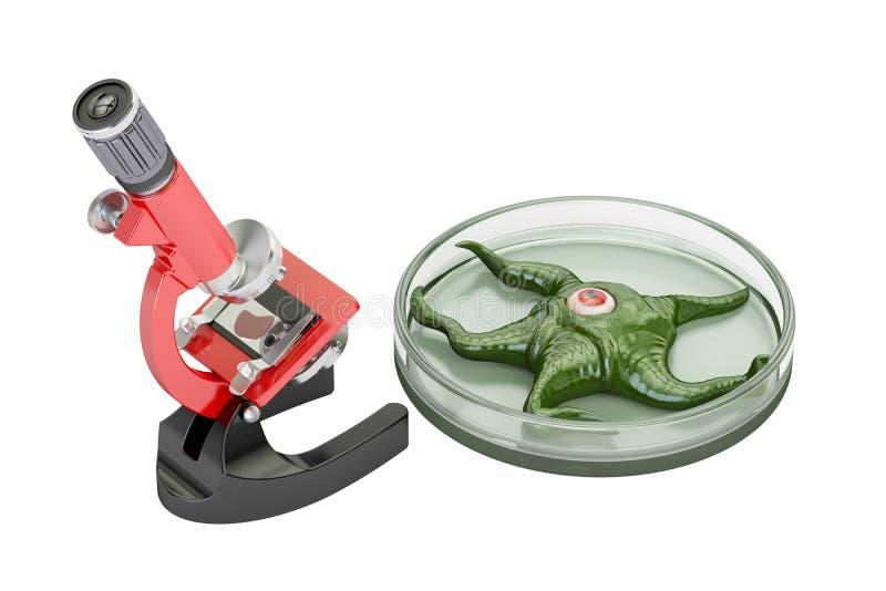 Laboratoriummikroskop med den bosatta organismen, vetenskapliga experimen royaltyfri illustrationer