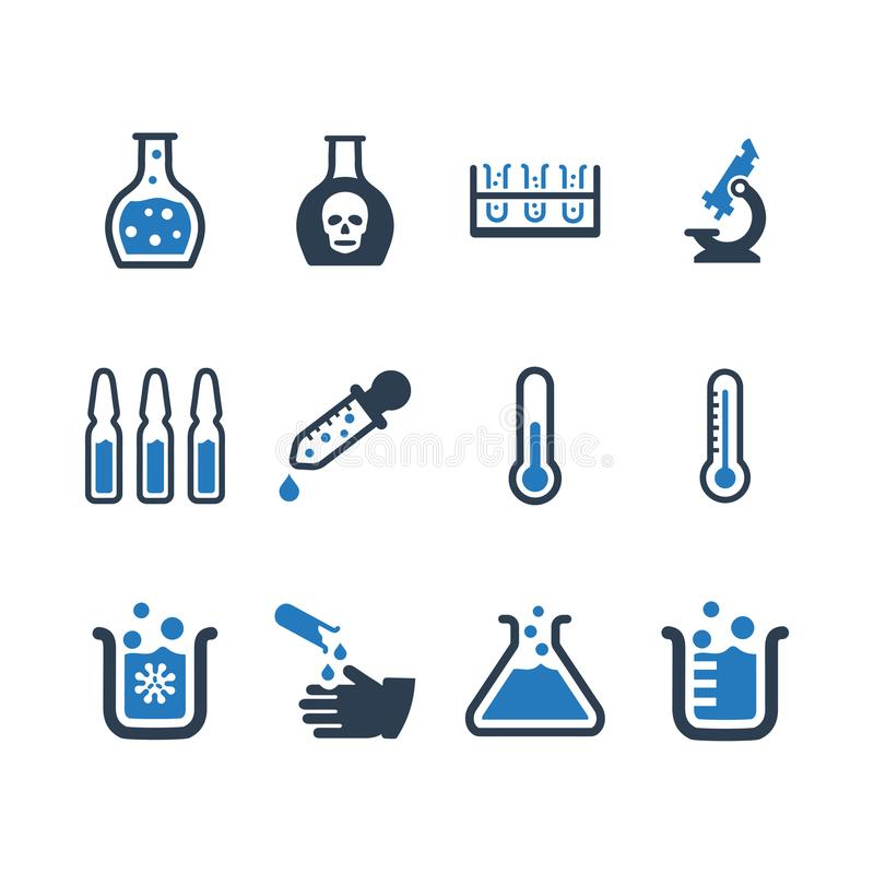 Laboratoriumpictogrammen - Blauwe Versie vector illustratie