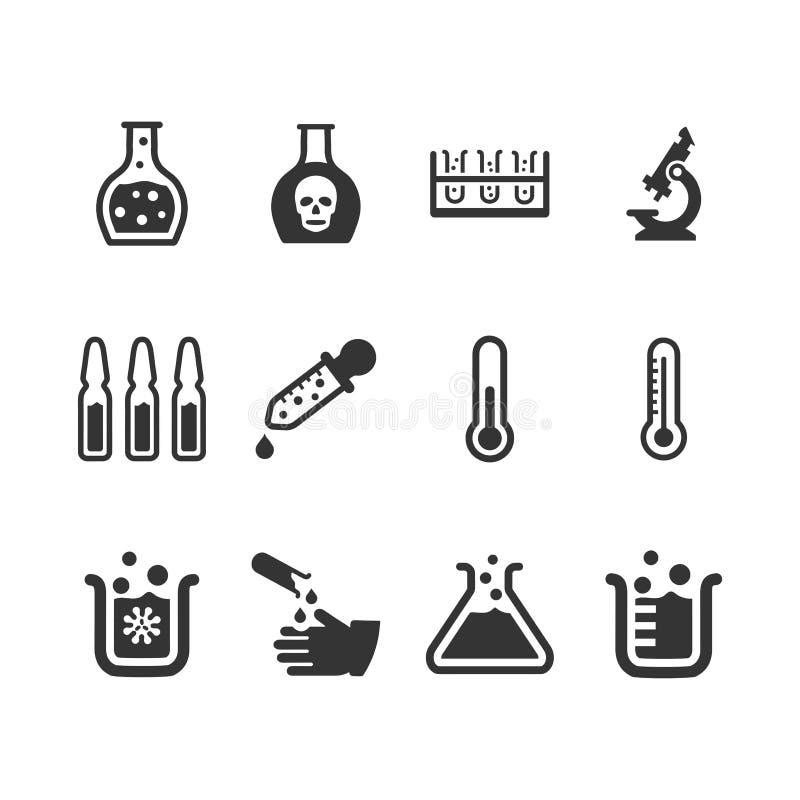 Laboratoriumpictogrammen - Gray Version stock illustratie