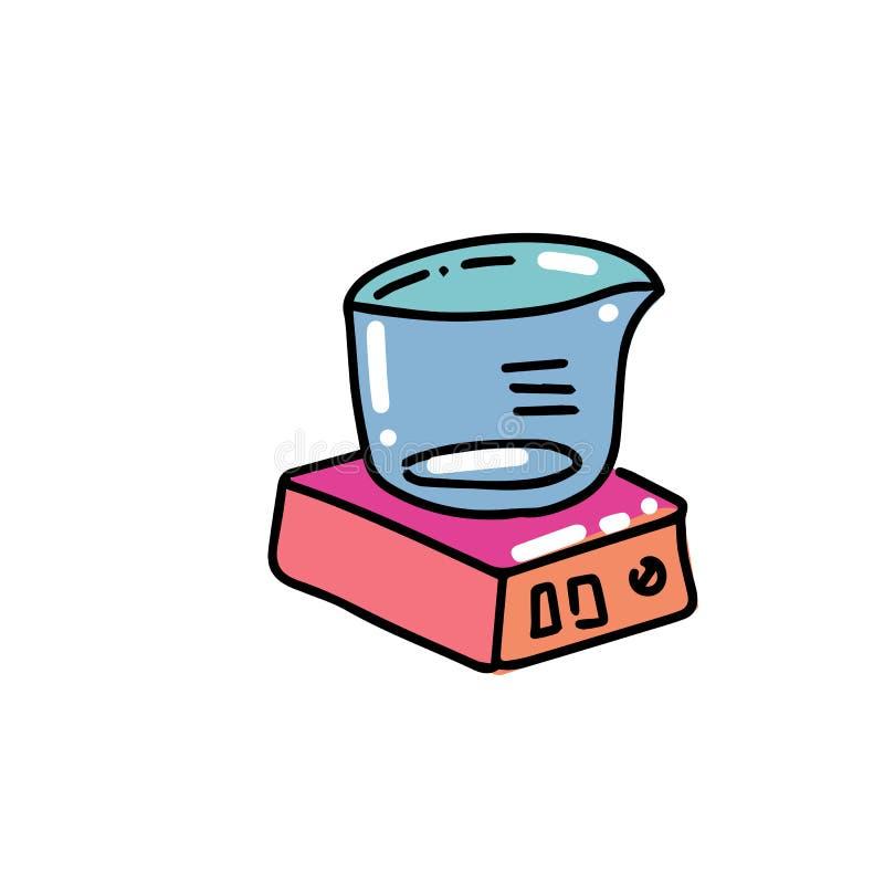 Laboratoriumschalen Chemisch materiaal in vlakke kleur geschetste hand getrokken kinderachtige krabbelstijl De druk van het kleur stock illustratie