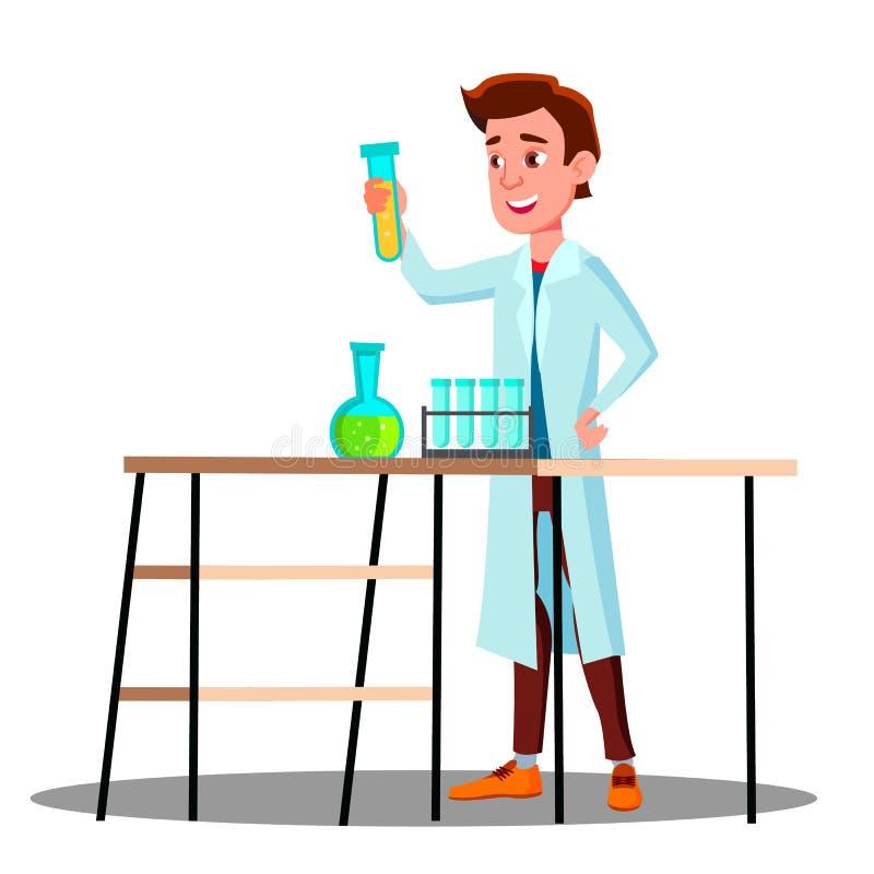 Laboratoriumtechnicus Guy Growing Medicinal Vector Geïsoleerde beeldverhaalillustratie royalty-vrije illustratie