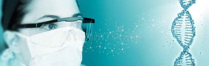 Laboratoriumtechnicus, molecule en DNA-schroef stock afbeeldingen