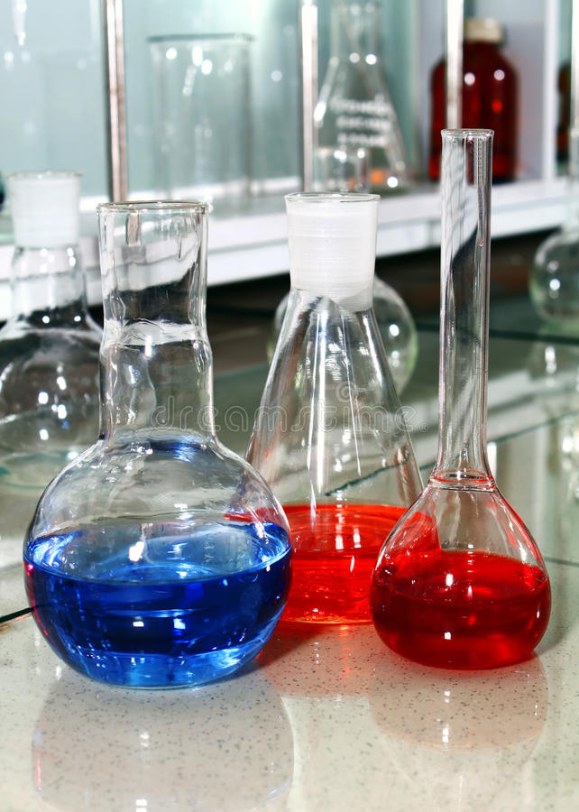 Download Laboratory Beakers With The Coloured Liquid Stock Photo - Image: 16892750