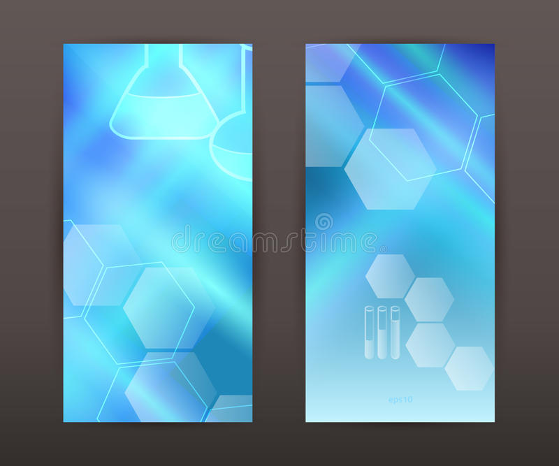 laboratory blue background Vertical banner set presentation flyer vector illustration