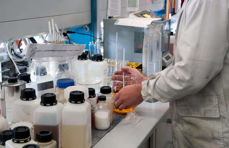 Laboratory for chemical analysis stock photo