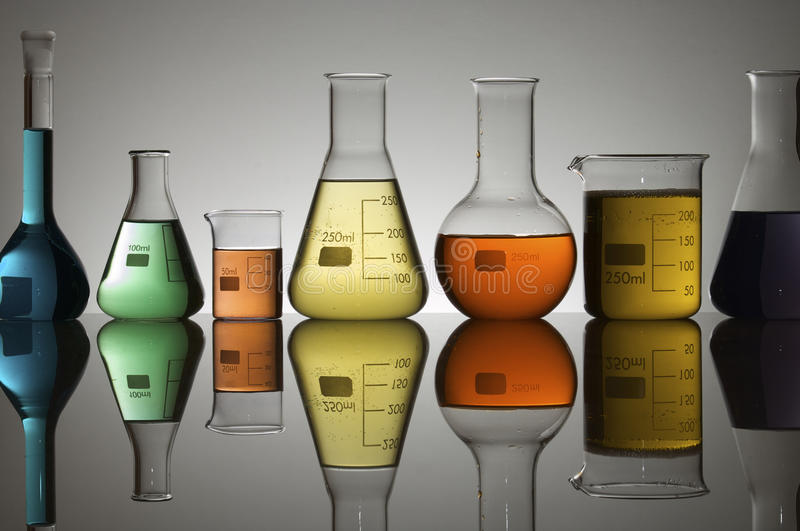 Laboratory containers royalty free stock image