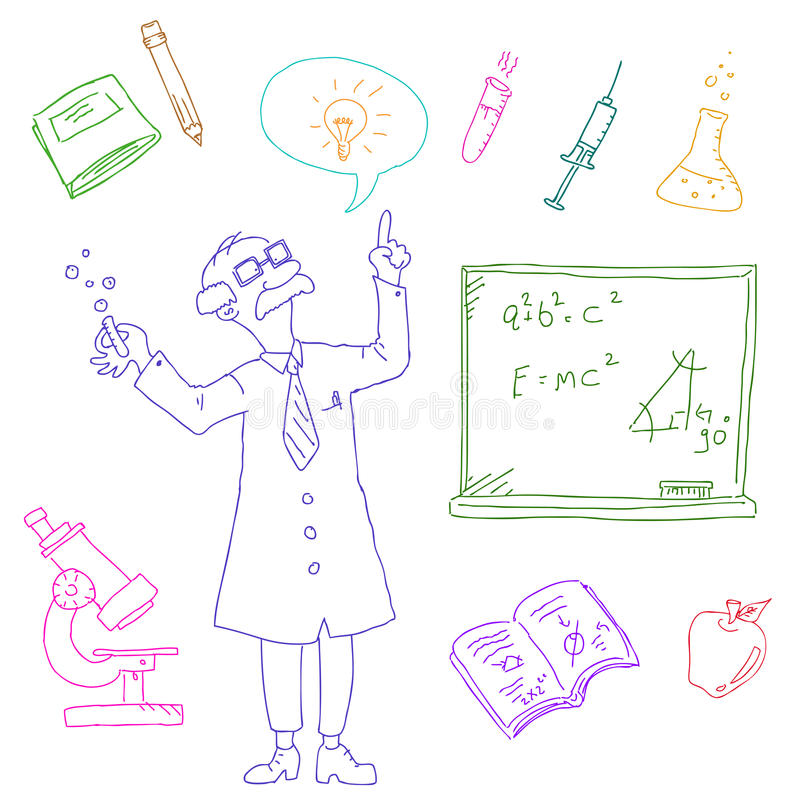 Download Laboratory doodles stock vector. Image of idea, person - 18361840