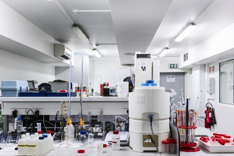 Laboratory of drinks factory. royalty free stock image