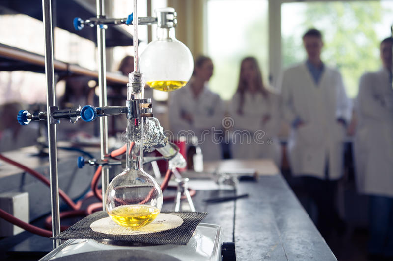 Laboratory equipment for distillation.Separating the component substances from liquid mixture with evaporation and condensation.I. Ndustrial chemistry royalty free stock photo