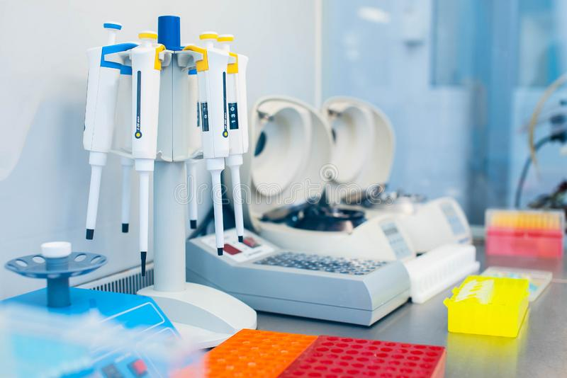 Laboratory equipment for DNA testing and blood analysis stock photography
