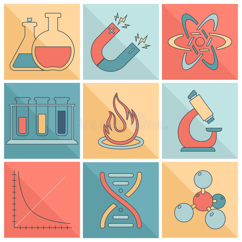 Laboratory equipment icons flat line. Science and research laboratory flat line icons set with magnet atom dna isolated vector illustration royalty free illustration