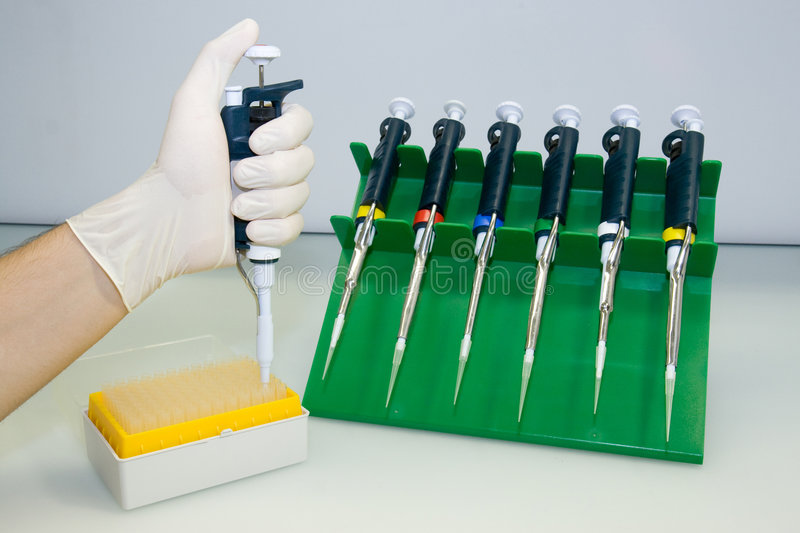Laboratory equipment, pipettes stock image