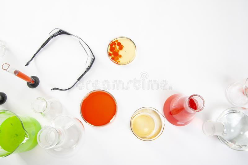 Laboratory equipment on a laboratory table on a white background during the experiments.  stock images