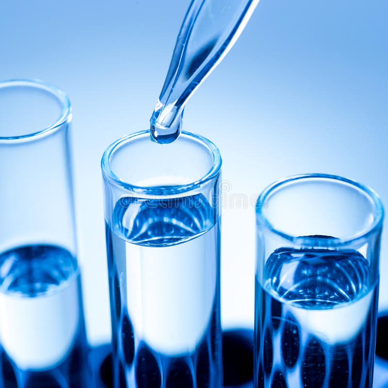 Laboratory equipment, in test tubes drops royalty free stock photos