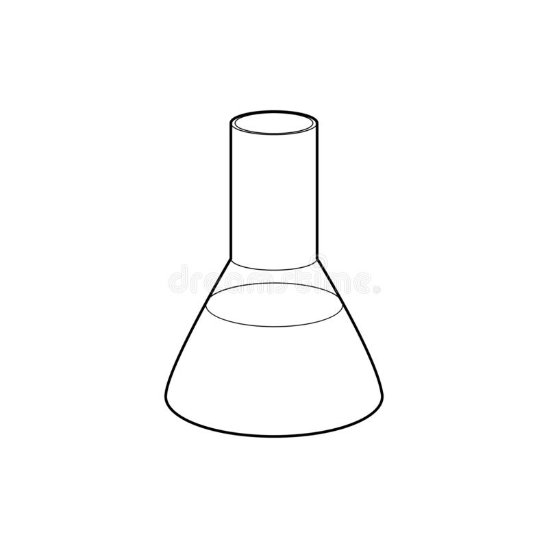 Laboratory flask icon, outline style. Laboratory flask icon in outline style isolated on white background. Experiment symbol stock images