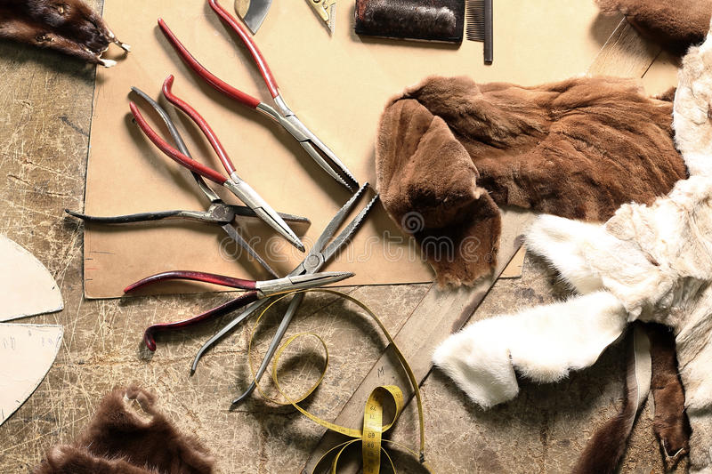Laboratory furrier, fur design. Workshop furrier, utensils, tools and pieces of natural fur stock image