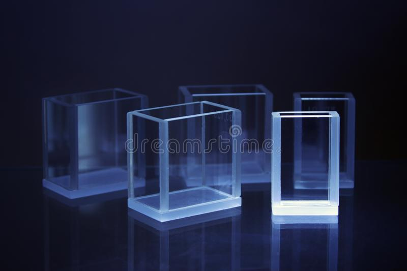 Laboratory glass cuvette stock photography