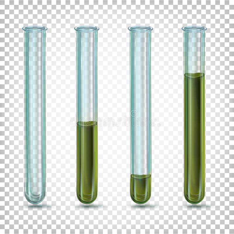 Laboratory glass tubes with dark dirty green. Liquid of different amounts stock illustration