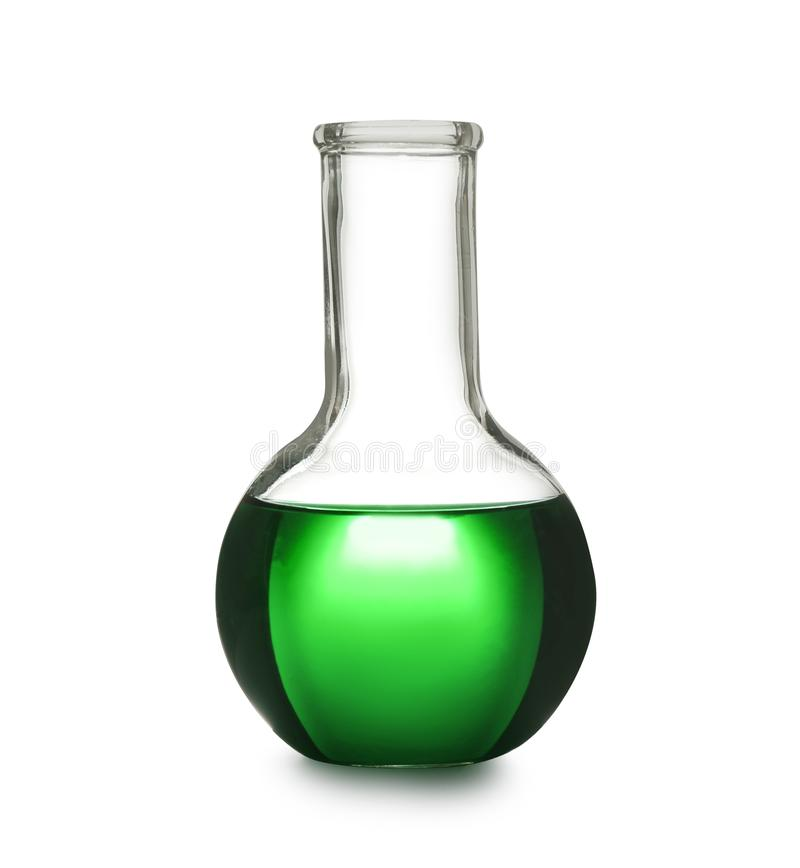Laboratory glassware with color sample on white background. Solution chemistry royalty free stock photos