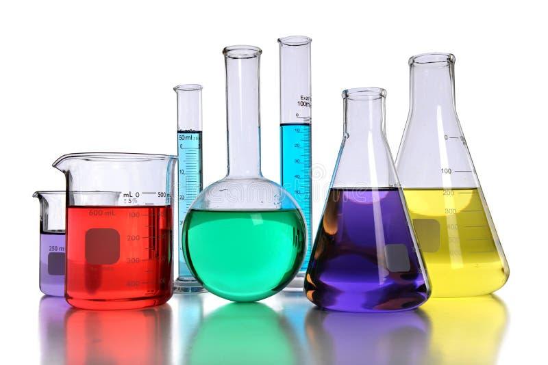 Laboratory Glassware With Liquids Royalty Free Stock Photos