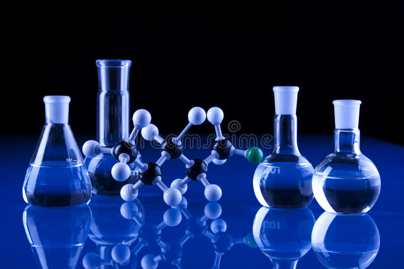 Laboratory Glassware and molecules stock photos