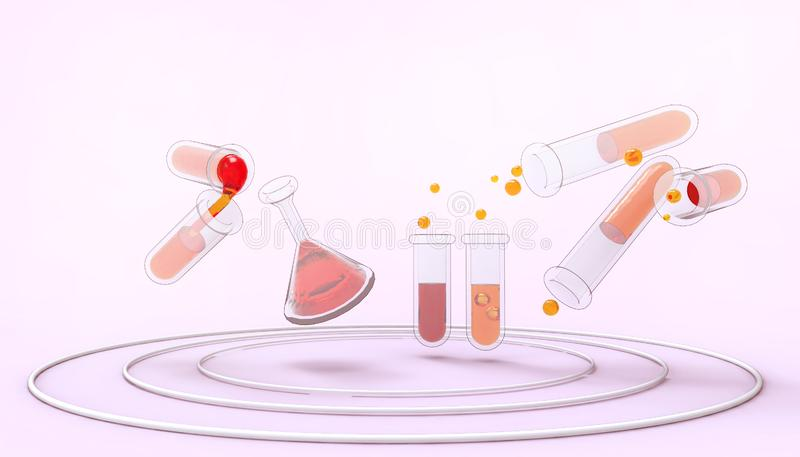 Laboratory Glassware Science chemical tubes with liquid concept and industrial . pharmacology and biotechnology pastel Purple. Laboratory Glassware Science stock illustration