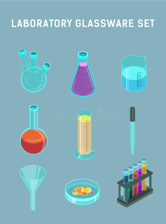 Laboratory glassware set stock illustration
