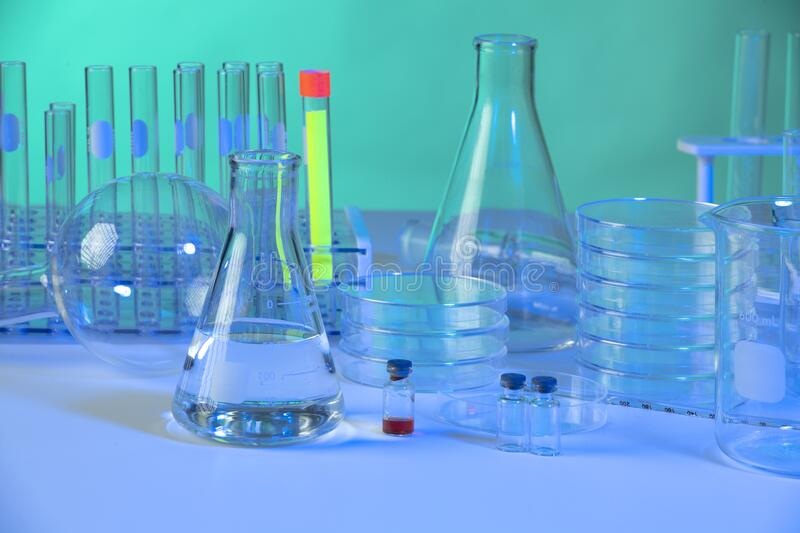 Laboratory Glassware with Test Fluids stock photo