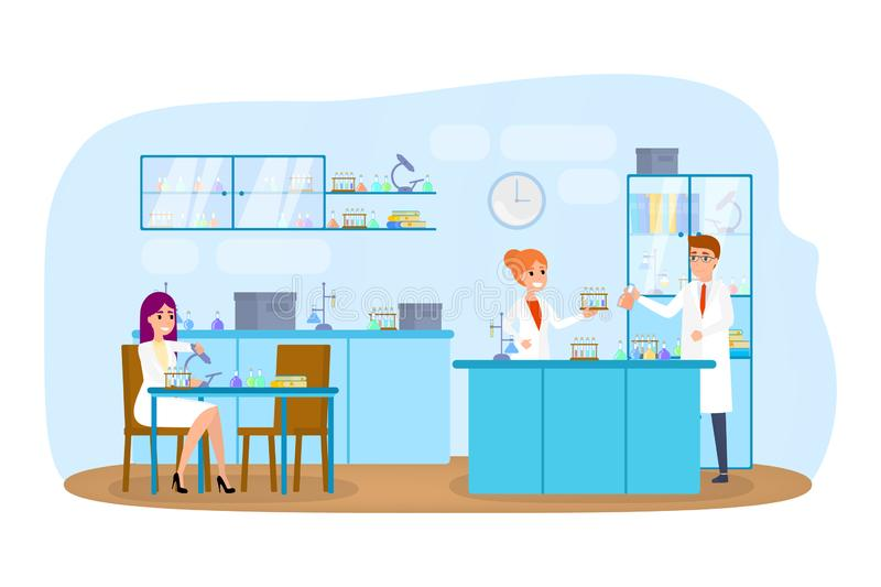 Laboratory interior. Scientist make test using special equipment vector illustration