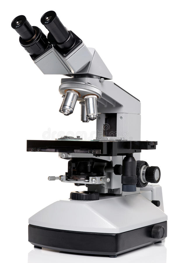 Laboratory microscope isolated on white royalty free stock images