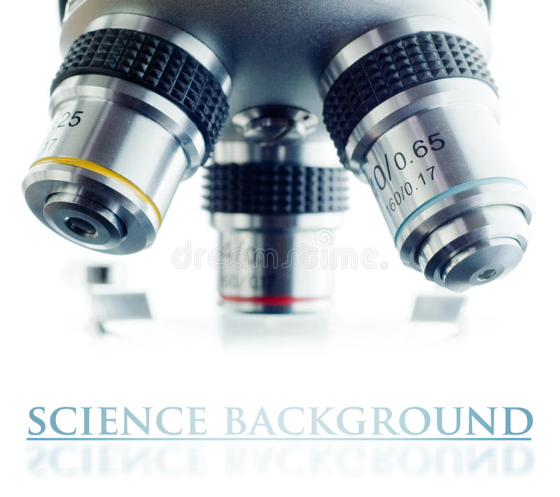 Microscope. Laboratory microscope lens with many space to insert your text stock images