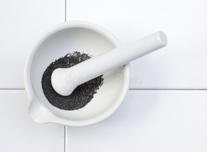Laboratory mortar and pestle stock image
