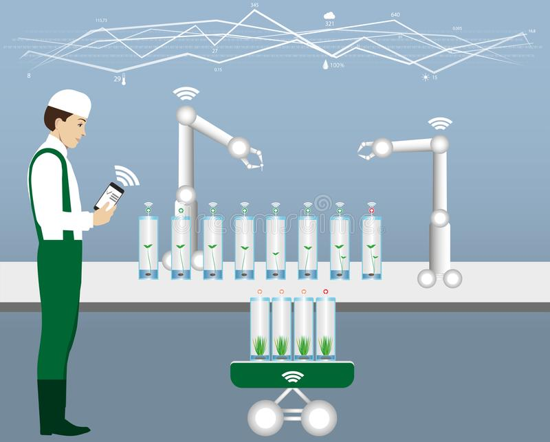 Internet of things in agriculture. stock illustration